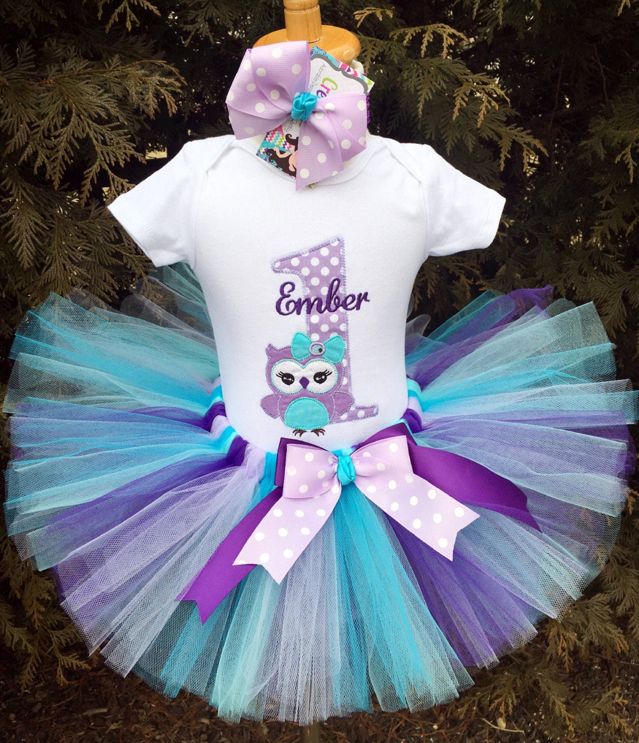 First Birthday Girl Outfit Purple Owl 1st Birthday Tutu
