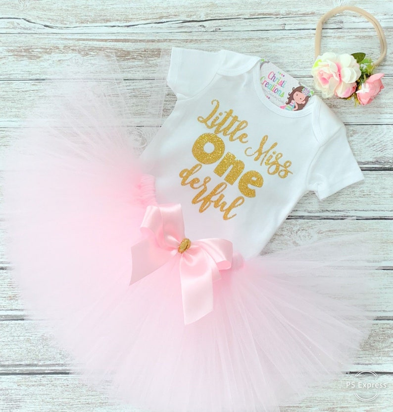 b07a04b0c Pink and Gold 1st Birthday Outfit Baby Girl First Birthday
