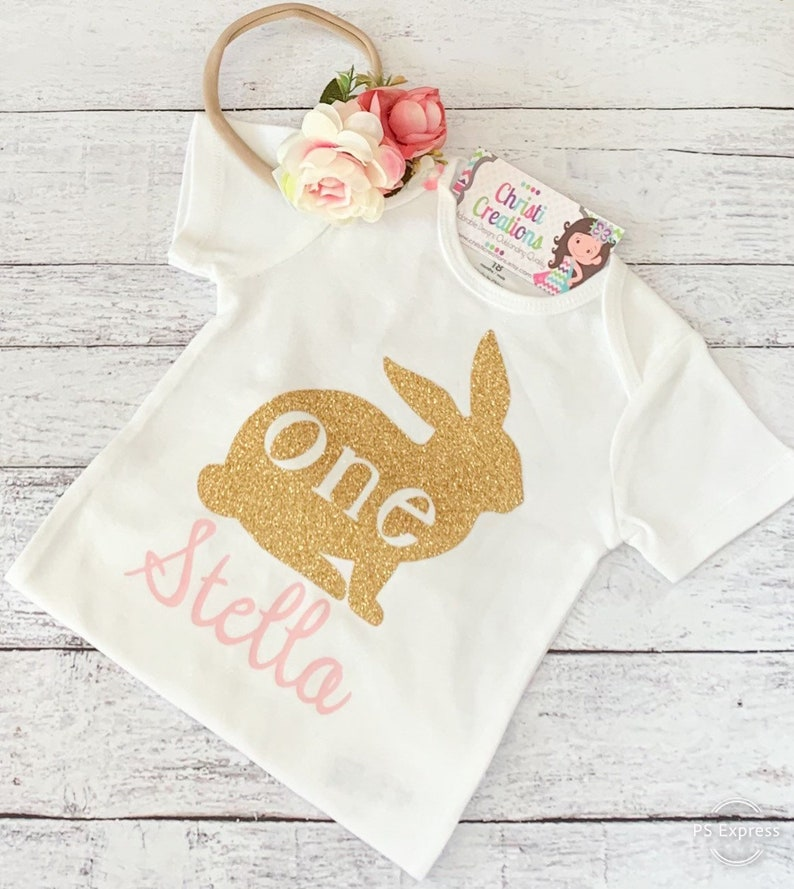 Pink and Gold Birthday Tutu 1st Birthday Outfit Girl Some Bunny is One First Birthday Dress