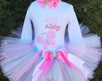 Baby Girl 1st Birthday Outfit - Butterfly Tutu Outfit - Girl Cake Smash Outfit - Pink Tutu - Baby Girl Pink Birthday