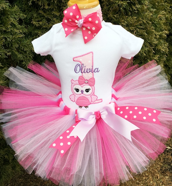 c4a7d25a0f3c7 Owl 1st Birthday Outfit - Baby Girl First Birthday Tutu Outfit - Bodysuit,  Tutu and Headband - Cake Smash Outfit