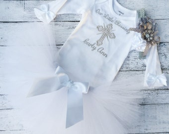 Baptism or Christening Outfit - Baby Girl Tutu - White and Silver - Personalized