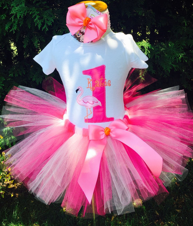 Baby Girl 1st Birthday Tutu Outfit Flamingo Party Orange Etsy