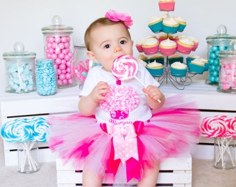 Baby Girl First Birthday Outfit - Pink Tutu - Cake Smash Outfit - Birthday Dress