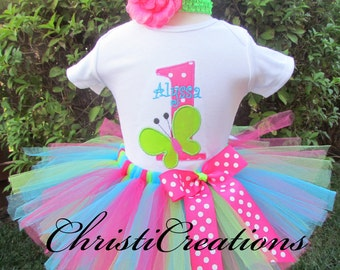 1st birthday baby outfit for girl - Butterfly Birthday Outfit - Birthday Tutu Set - Girl Cake Smash Outfit