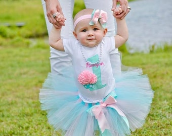 First Birthday Outfit Girl - Baby Girl 1st Birthday Tutu - Cupcake Birthday Outfit - Pink and Aqua Cake Smash Outfit