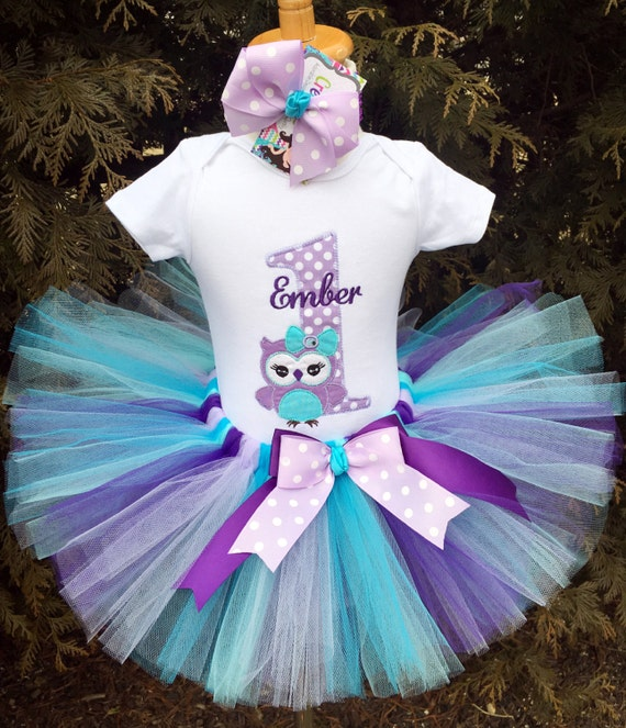 Baby Girl Owl Birthday Outfit 1st Birthday Tutu Lavender