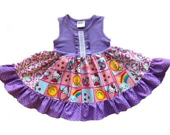 ef133b70f Hello Kitty dress, pink Hello Kitty birthday dress party dress, girl's Hello  Kitty outfit, toddler Hello Kitty set, purple hello kitty dress