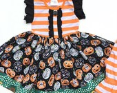 Toddler Halloween dress, Fall Pumpkin patch Halloween dress party outfit, Black orange dress for Halloween girls pumkin outfit 12mo 18mo 2 3