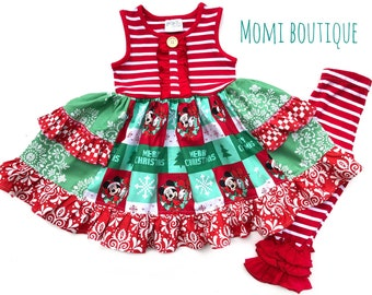 5ff608d7f5b7 Girls Disney christmas dress Holiday Disney toddler outfit