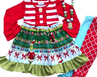 9341ea9f69a5 Girls Christmas Grinch dress, READY TO SHIP toddler Grinch dresses, Grinch  movie dress holiday outfit necklace size 12mo 18mo 2 3 4 5 6 7 8