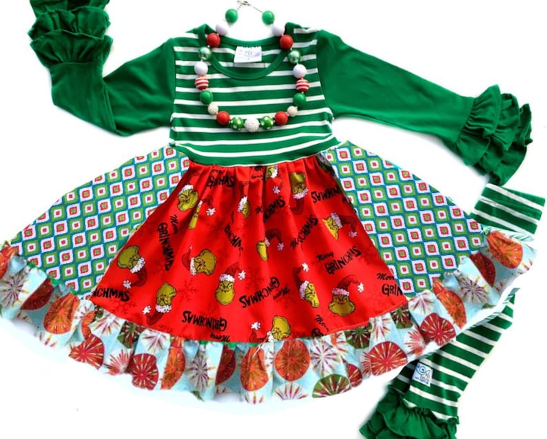 50a42dd96c07 Grinch dress girl's Christmas dresses toddler Grinch | Etsy