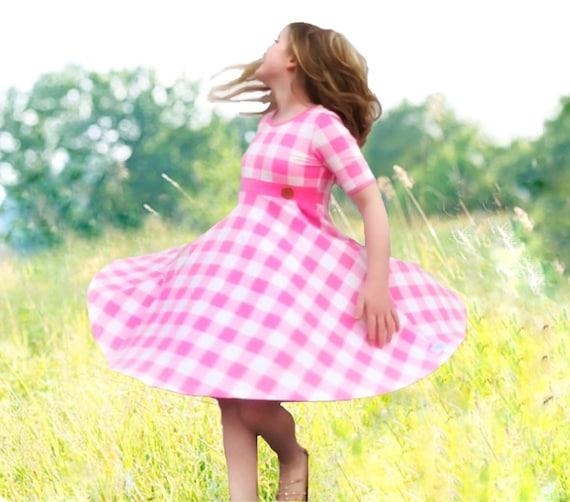Girls Easter dress, Buffalo Plaid dress, pink Plaid dress toddler Valentine's Day dress girls Easter dress Valentine dresses knit pocket