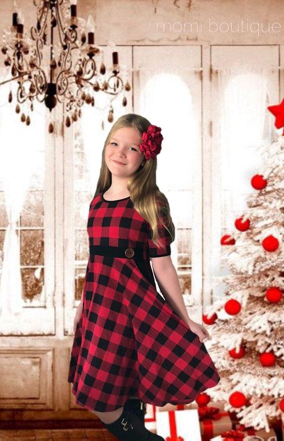 5079ecd0b98b Girls Christmas dress Buffalo Plaid dress ready to ship | Etsy