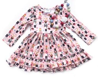Girls Nutcracker dress, Christmas Dress, Pink Nutcracker long sleeve dress, 12 18 2 3 4 5 6 7 8