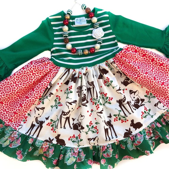 Toddler Christmas Dresses.Girls Christmas Deer Dress Toddler Christmas Dress Deer Dresses Winter Rustic Holiday Outfit Momi Boutique Custom Boutique Dress