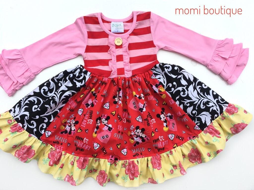 Disney Valentines Day Dress Mickey And Minnie Dress Girls Etsy