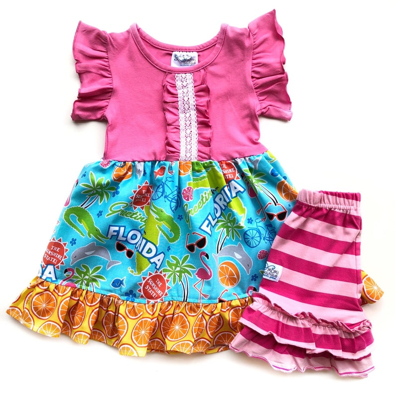 108807c7783a Florida outfit vacation beach wear dolphin dress Girls