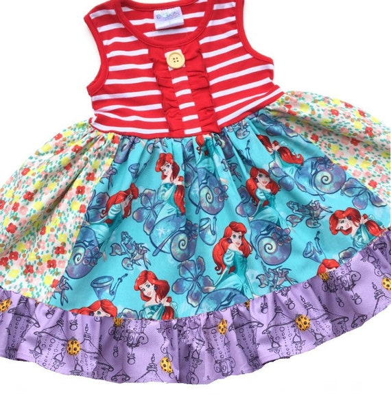 New Ready-Made Turquoise Princess Ariel Toddler Dresses w// Hair Bow /& Bracelet