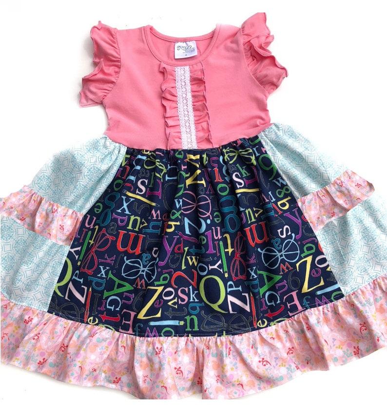 89e03784fd7 Alphabet dress girls graduation dress toddler preschool
