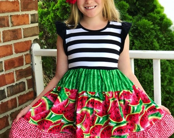Watermelon twirl dress girls toddler fruit picnic outfit summer boutique clothing