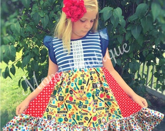 Back to School dress, First day of school dress classroom apple Momi boutique