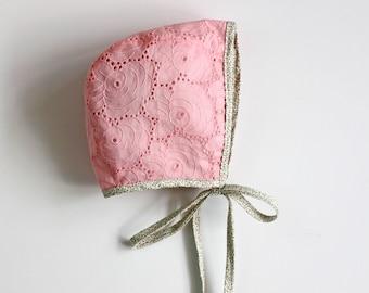 Pink Bonnet, Rose Bonnet, Embroidered Bonnet, Eyelet Bonnet, Summer Bonnet, Baby Bonnet, Toddler Bonnet, Bonnet, Baptism Bonnet, Baby Shower