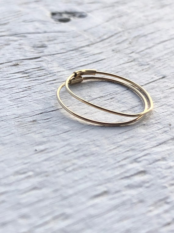 10k sleepers vintage solid gold hoop earrings simp