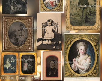 Baroque Bitches & Gents DIGITAL COLLAGE SHEET Fancy Tintypes Instant Download
