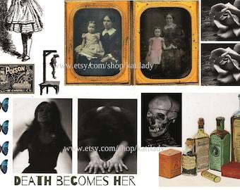 Death Becomes Her DIGITAL COLLAGE SHEET Creepy Halloween Dangerous Women Instant Download