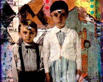 ACEO Original Mixed Media Collage Art Card Holy Season