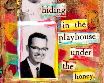 ACEO Original Mixed Media Collage Art Card Under the Honey