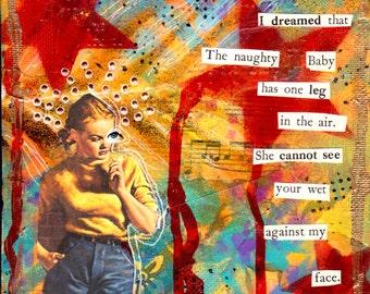 Mixed Media Collage Art Original THE NAUGHTY BABY  6x6  Mixed Media Canvas
