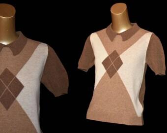 Sisley 50s Style Argyle Sweater, 90s Intarsia Pullover with Johnny Collar, Size XXS to XS