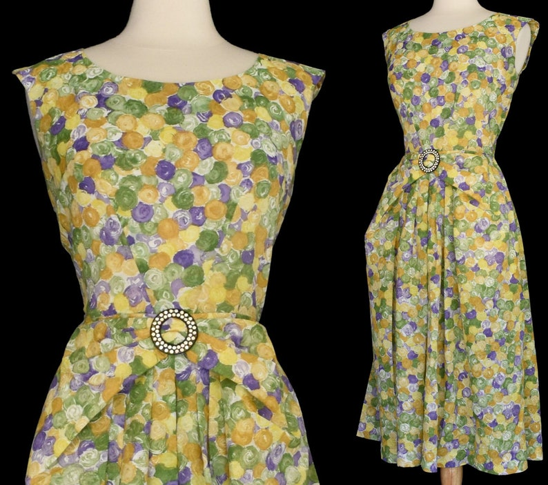 Size M to L 50s Floral Print Cocktail Dress Paul Sachs Original Medium to Large Painterly Floral Party Dress
