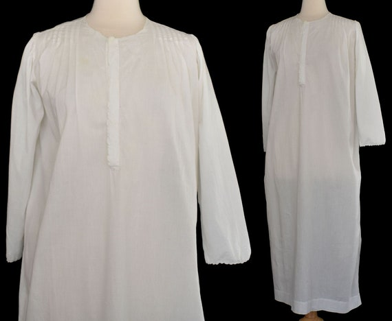 Victorian White Wear Nightgown, Hand Embroidered C