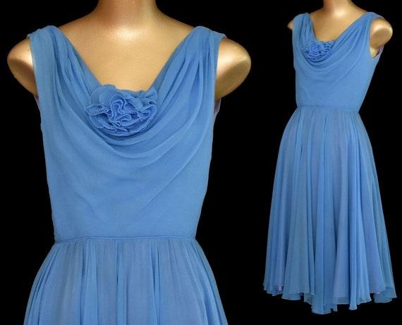 50s Blue Chiffon Cocktail Dress, Full Skirted Part