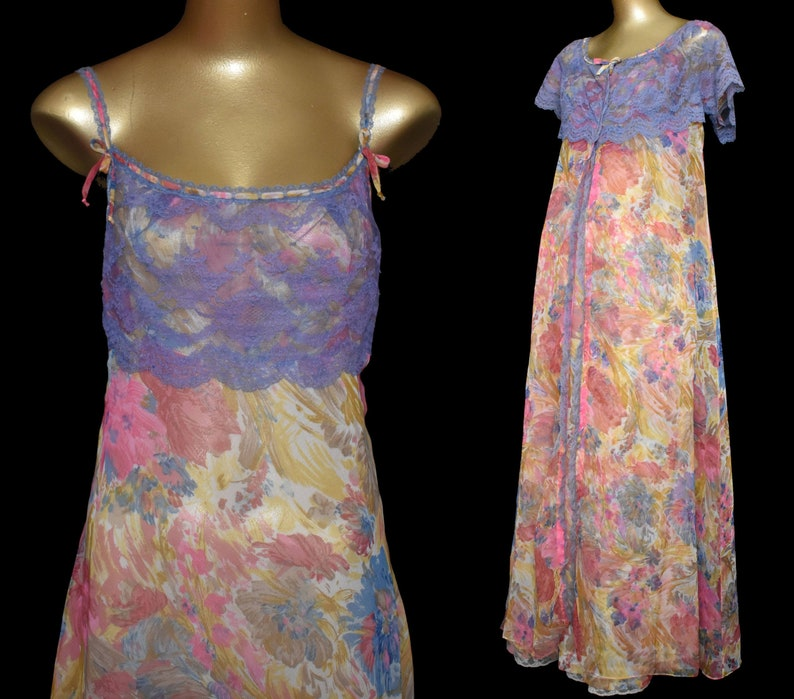 92a5e09d55 Vintage Floral Nightgown and Robe Set Odette Barsa Peignoir