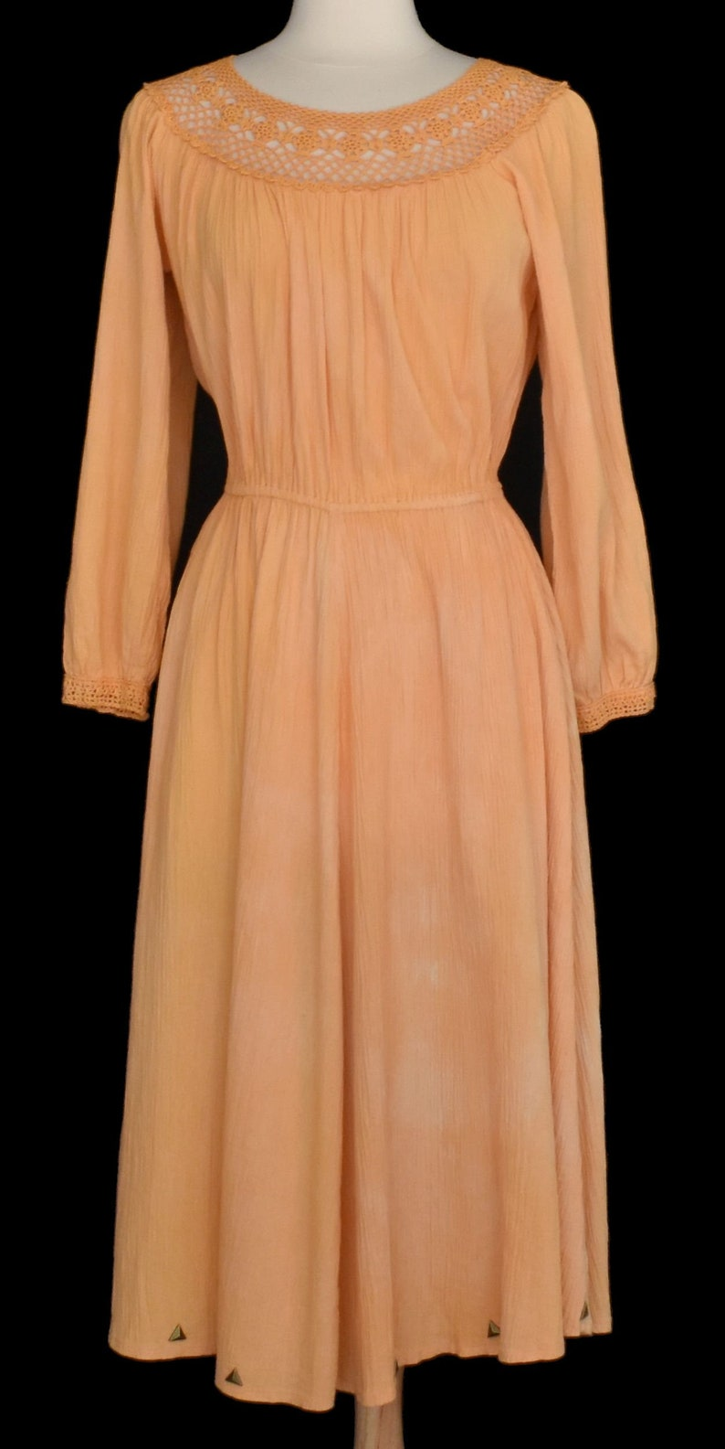 Designer Balkan 70s Gauze Dress Handmade in Cyprus 3-D Studded Peach Ombre Crinkle Gauze Grecian Goddess Dress Bohemian Dress M to L