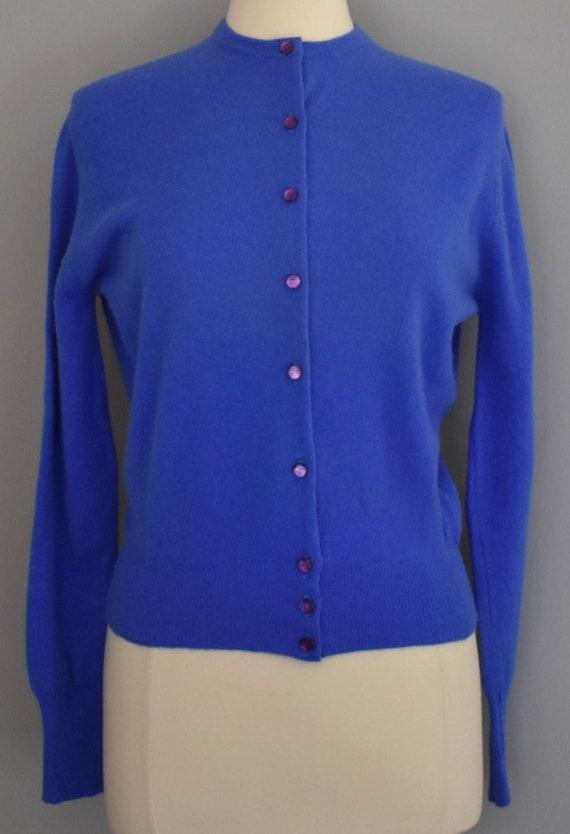 50s Darlene Cardigan Sweater, Blue Lambswool Angor