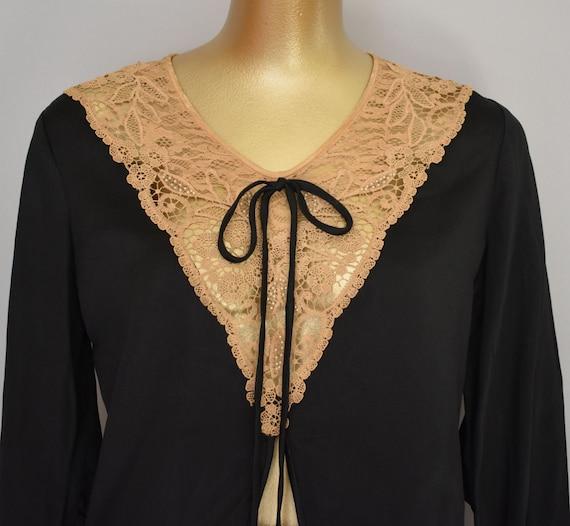 30s Black Silk Blouse, Black Silk Satin Blouse wit