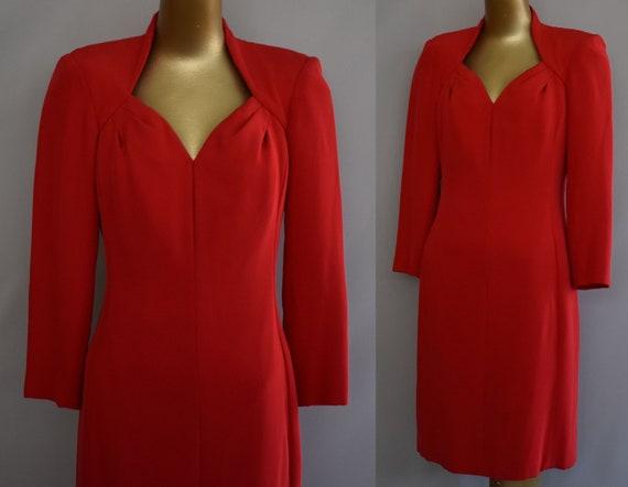 Red Estevez Cocktail Dress, Silk Party Dress, Vint