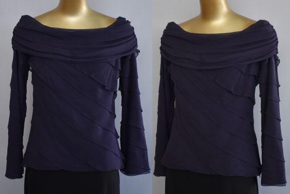 Tadashi Silk Chiffon Blouse, Draped Silk Chiffon C