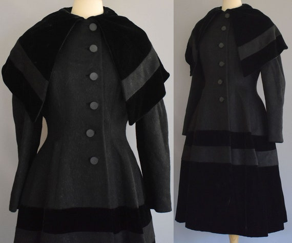 40s Lilli Ann Princess Coat, Black Mohair and Silk