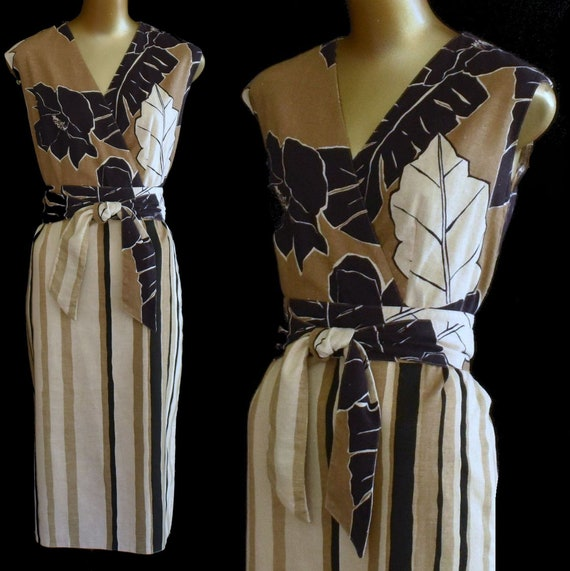70s Tropical Print Dress, Striped Mixed Print Cott