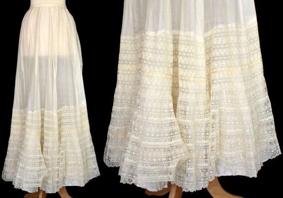 Edwardian Silk Slip, Antique Lace Ruffled Petticoa