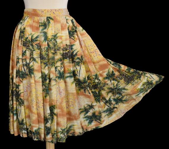 50s Hawaii Gathered Skirt, Hawaiian Scenic Print R
