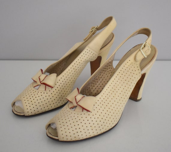 40s Suede Shoes, Off White Peep Toe Perforated Hig