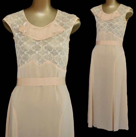 30s Dress, Apricot Silk Dress, Crocheted Bodice an