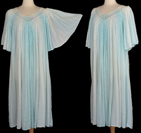 70s Grecian Goddess Dress, Greek Cotton Gauze Dres